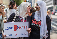 NEW YORK JUNE 10: People march to support muslims rights as a counter protest to an anti-sharia law rally organized by ACT for America on June 10, 2017 at City Hall in New York. Photo by VIEWpress/Maite H. Mateo.