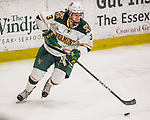 18 December 2016: University of Vermont Catamount Defenseman Mike Lee, a Sophomore from Hamden, CT, in third period action against the Union College Dutchmen at Gutterson Fieldhouse in Burlington, Vermont. The Catamounts fell to their former ECAC hockey rivals 2-1, as the Dutchmen sweep the two-game weekend series. Mandatory Credit: Ed Wolfstein Photo *** RAW (NEF) Image File Available ***