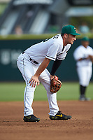 Augusta GreenJackets third baseman Jacob Gonzalez (18) on defense against the Kannapolis Intimidators at SRG Park on July 6, 2019 in North Augusta, South Carolina. The Intimidators defeated the GreenJackets 9-5. (Brian Westerholt/Four Seam Images)
