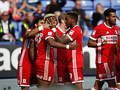 9th September 2017, Macron Stadium, Bolton, England; EFL Championship football, Bolton Wanderers versus Middlesbrough;  Britt Assombalonga is congratulated by his team mates after scoring his team's first goal after 13 minutes