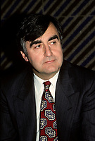 Montreal (Qc) CANADA -undated file photo circa 1989<br /> <br /> <br /> Lucien Bouchard, in an undated file photo circa 1989<br /> <br /> Bouchard joined Mulroney's Progressive Conservative government in 1988 as Secretary of State and later Minister of the Environment, serving until 1990. While still a strong Quebec nationalist, he believed that Mulroney's Meech Lake Accord was sufficient to placate nationalist feelings and keep Quebec in confederation.<br /> <br /> However, after a commission headed by Jean Charest recommended some changes to the Accord, Bouchard left the Progressive Conservatives (May 1990), feeling that the spirit and objectives of Meech were being diluted. Mulroney felt betrayed by Bouchard, and rejected his reasoning, having heard from a friend that Bouchard planned on leaving days before the Commission's report. In fact, in his memoirs Mulroney stated that trusting Bouchard was his most regretful and costliest mistake as Prime Minister. After the failure of Meech, Bouchard formed the sovereigntist Bloc Qu&Egrave;b&Egrave;cois, initially a faction of disaffected, separatist federal MPs and later a full-blown party, which attracted a variety of former Liberals and Conservatives.
