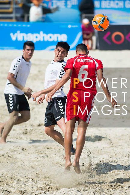 MECHLEB MATAR Mohamad of Lebanon fights for the ball with MOHAMMADI Samiullah of Afghanistan during the Beach Soccer Men's Team Bronze Medal Match between Lebanon and Afghanistan on Day Nine of the 5th Asian Beach Games 2016 at Bien Dong Park on 02 October 2016, in Danang, Vietnam. Photo by Marcio Machado / Power Sport Images