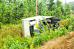 Overturned transport truck