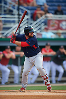Lowell Spinners Joe Davis (55) at bat during a NY-Penn League game against the Batavia Muckdogs on July 11, 2019 at Dwyer Stadium in Batavia, New York.  Batavia defeated Lowell 5-2.  (Mike Janes/Four Seam Images)