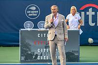 Washington, DC - August 3, 2019: Mark Ein talks after the  Women Doubles finals at William H.G. FitzGerald Tennis Center in Washington, DC  August 3, 2019.  (Photo by Elliott Brown/Media Images International)