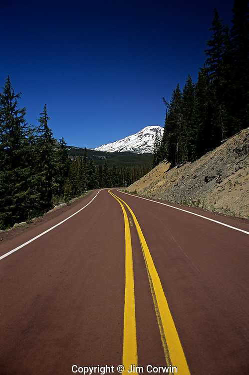 South Sister with Cascade Lakes Highway windy road Central Oregon State USA.