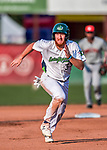 20 August 2017: Vermont Lake Monsters infielder Hunter Hargrove, a 25th round draft pick for the Oakland Athletics, hustles to third during game action against the Connecticut Tigers at Centennial Field in Burlington, Vermont. The Lake Monsters rallied to edge out the Tigers 6-5 in 13 innings of NY Penn League action.  Mandatory Credit: Ed Wolfstein Photo *** RAW (NEF) Image File Available ***