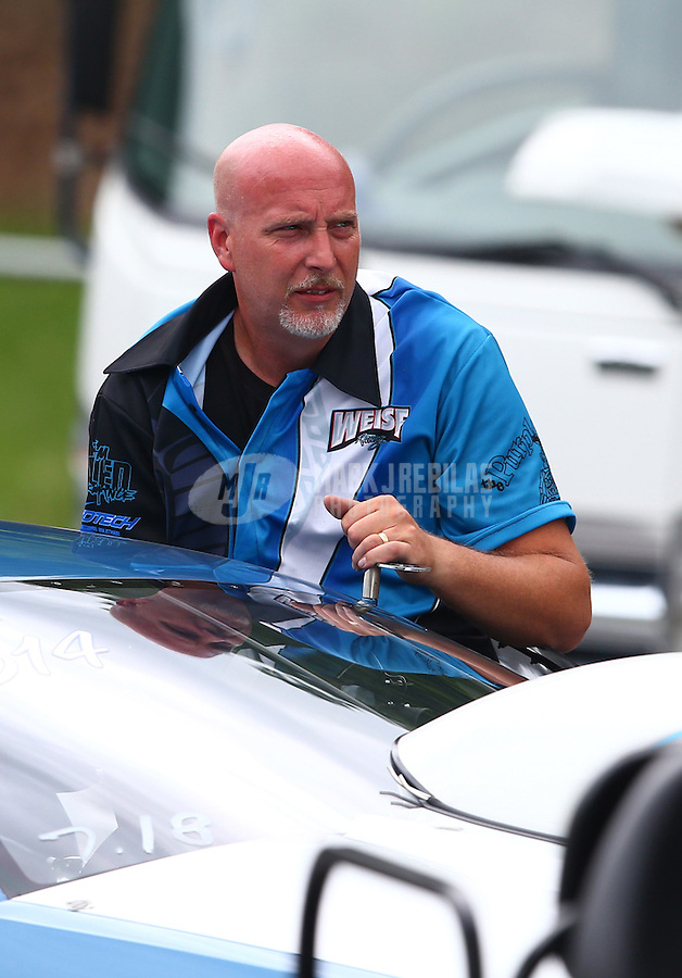 Jun 20, 2015; Bristol, TN, USA; NHRA top sportsman driver Tim Woiso during qualifying for the Thunder Valley Nationals at Bristol Dragway. Mandatory Credit: Mark J. Rebilas-