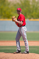 Los Angeles Angels relief pitcher John Swanda (96) during a Minor League Extended Spring Training game against the Chicago Cubs at Sloan Park on April 14, 2018 in Mesa, Arizona. (Zachary Lucy/Four Seam Images)
