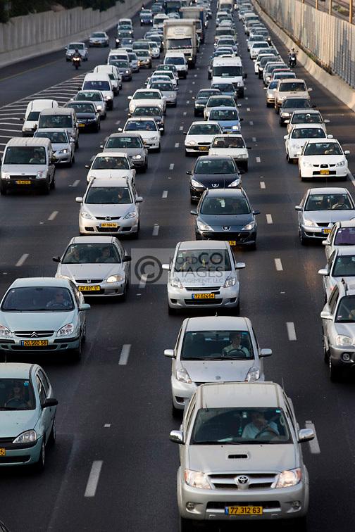 TRAFFIC AYALON HIGHWAY TEL AVIV ISRAEL