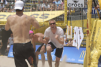 Huntington Beach, CA - 5/5/07:   John Hyden and Brad Keenan celebrate after defeating Kiraly / Wong 21-17, 21-19 Saturday during the 2007 AVP CROCS Tour in Huntington Beach..Photo by Carlos Delgado
