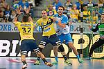 GER - Mannheim, Germany, September 23: During the DKB Handball Bundesliga match between Rhein-Neckar Loewen (yellow) and TVB 1898 Stuttgart (white) on September 23, 2015 at SAP Arena in Mannheim, Germany. Final score 31-20 (19-8) .  Rafael Baena Gonzalez #16 of Rhein-Neckar Loewen, Dominik Weiss #6 of TVB 1898 Stuttgart<br /> <br /> Foto &copy; PIX-Sportfotos *** Foto ist honorarpflichtig! *** Auf Anfrage in hoeherer Qualitaet/Aufloesung. Belegexemplar erbeten. Veroeffentlichung ausschliesslich fuer journalistisch-publizistische Zwecke. For editorial use only.