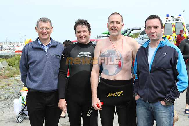 Coleman Ledwith, Joe Leahy, Ray Donagh and Tom O'Gorman who along with Martin Gargan swam the first Round the Head swim 5 years ago at the Green Buoy 1KM Swim in Clogherhead....(Photo credit should read Jenny Matthews/NEWSFILE)...