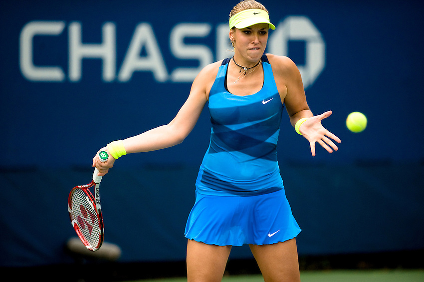 FLUSHING MEADOWS, NY - AUGUST 27: Sabine Lisicki (GER) competes in a first round match of the US Open on August 27, 2012 at the USTA Billie Jean King National Tennis Center in New York. The US Open is the highest-attended annual sporting event in the world.