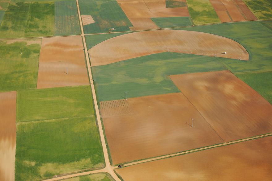 Aerial image<br /> farm land,  Salamanca Region, Castilla y Le&oacute;n, Spain