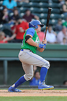Catcher Chad Johnson (7) of the Lexington Legends bats in a game against the Greenville Drive on Thursday, April 24, 2014, at Fluor Field at the West End in Greenville, South Carolina. Greenville won, 9-4. (Tom Priddy/Four Seam Images)