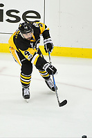 May 29, 2017: Pittsburgh Penguins defenseman Justin Schultz (4) passes the puck during game one of the National Hockey League Stanley Cup Finals between the Nashville Predators  and the Pittsburgh Penguins, held at PPG Paints Arena, in Pittsburgh, PA. Pittsburgh defeats Nashville 5-3 in regulation time.  Eric Canha/CSM