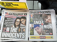 New York tabloid newspapers continue to report on the deaths in Monday's bombing in Manchester UK on Wednesday, May 24, 2017 during a terrorist attack after an Ariana Grande concert in the Manchester Arena. (© Richard B. Levine)
