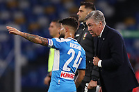 Lorenzo Insigne of Napoli and Carlo Ancelotti coach of Napoli<br /> Napoli 09-11-2019 Stadio San Paolo <br /> Football Serie A 2019/2020 <br /> SSC Napoli - Genoa CFC<br /> Photo Cesare Purini / Insidefoto