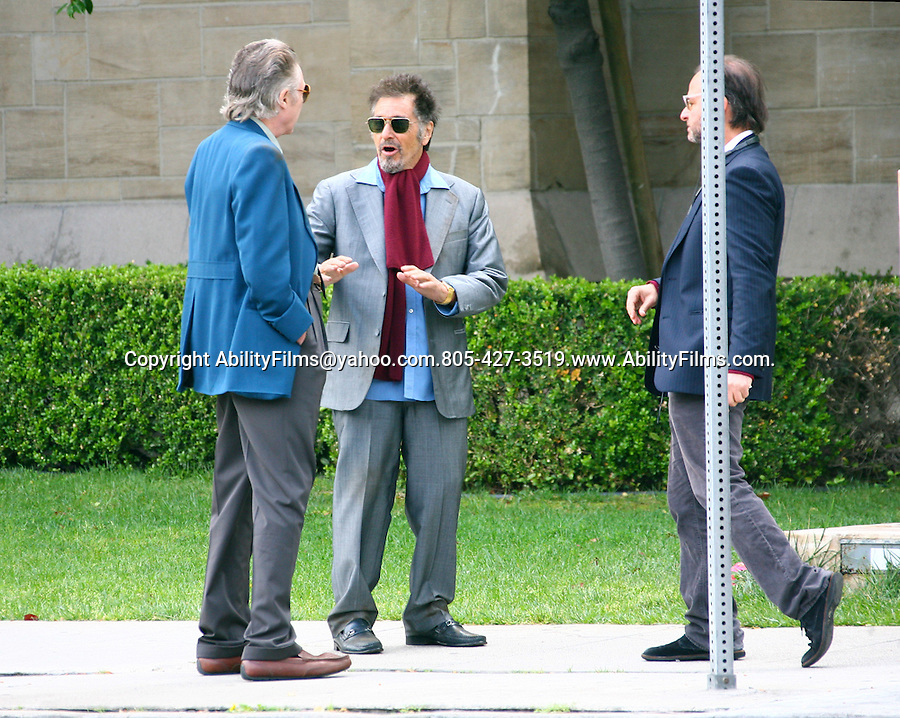 April 11th 2012 ..AL Pacino & Christopher Walken filming the movie  Stand Up Guys at a church in .Los Angeles. Fisher Stevens was also on set..AbilityFilms@yahoo.com.805-427-3519.www.AbilityFilms.com..