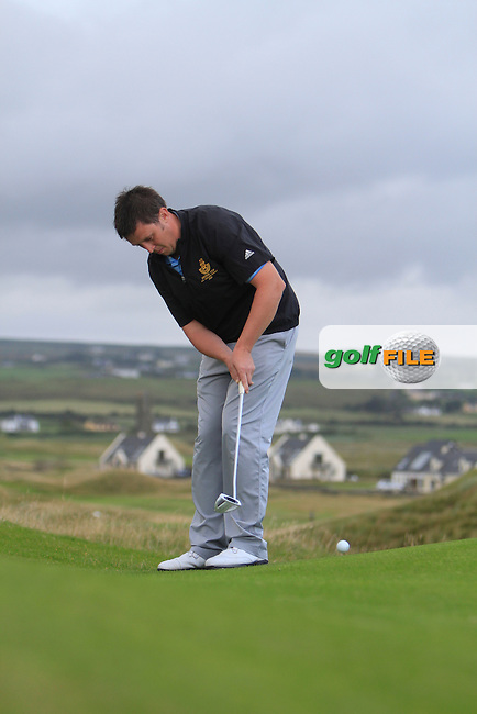 Paul O'Hara (Kilkenny) on the 19th hole during the South of Ireland Amateur Open Championship Final at Lahinch Golf Club  31st July 2013 <br /> Picture:  Thos Caffrey / www.golffile.ie