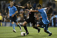 1st November 2019; Leichhardt Oval, Sydney, New South Wales, Australia; A League Football, Sydney Football Club versus Newcastle Jets; Jason Hoffman of Newcastle Jets attempts to go past Paulo Retre of Sydney   - Editorial Use