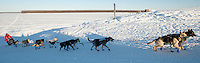 Jessie Royer leaves the Yukon River and mushes into the village of Kaltag during the 2011 Iditarod.