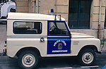 Spain 1990. Spanish Police Land Rover Santana Series 3 88 Hard Top with blue rotating beacon. --- No releases available. Automotive trademarks are the property of the trademark holder, authorization may be needed for some uses. --- Info: From the mid 1950's untill the early 1990's the english Land Rover was also built under license in Spain. The spanish company Metalurgica de Santa Ana (later to become Santana Motor SA), was producing Land Rovers in the beginning from CKD kits, but local content was gradually increased until the Santanas (this is how they were called) were 100 per cent locally manufactured.