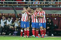 BUKARESZT 09.05.2012.MECZ FINAL LIGA EUROPY SEZON 2011/12: ATLETICO MADRYT - ATHLETIC BILBAO --- UEFA EUROPA LEAGUE FINAL 2012 IN BUCHAREST: CLUB ATLETICO DE MADRID - ATHLETIC CLUB DE BILBAO.PILKARZE ATLETICO  DIEGO GODIN  FALCAO  GABI.FOT. PIOTR KUCZA.---.Newspix.pl