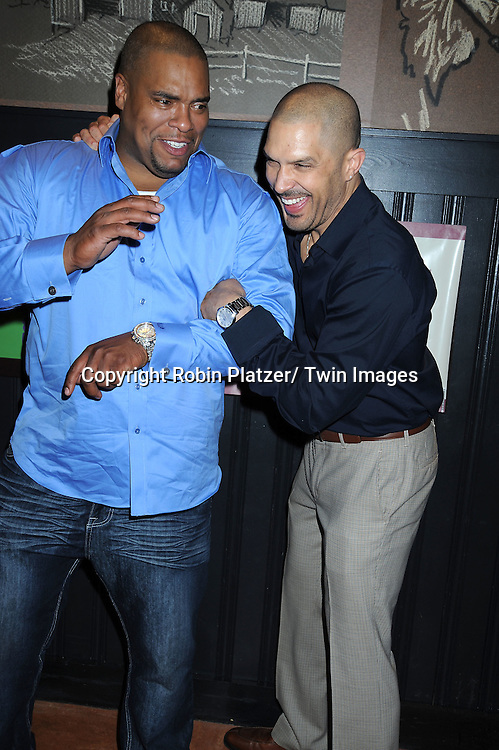 Sean Ringgold, actor on One Life To Live and Terrell Tilford  attending Sean Ringgold's  Fan Club Dinner on October 8, 2010 at HB Burger in New YOrk City.