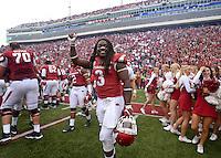 NWA Democrat-Gazette/BEN GOFF @NWABENGOFF<br /> Alex Collins, Arkansas running back, celebrates after Arkansas defeated Auburn in overtime on Saturday Oct. 24, 2014 during the game in Razorback Stadium in Fayetteville.