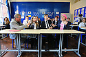 Eddie Izzard and Sammy Wilson of the DUP join the Politics Pupils (Aobh Sharvin and Ben O'Kane) ahead of this evenings debate on the European Referendum at Methodist College Belfast, Thursday, June 2nd, 2016. Methodist College, Belfast played host to a live EU debate last night with comedian, actor and charity fundraiser Eddie Izzard and DUP East Antrim MP Sammy Wilson going head to head on the key issues in the run up to the referendum on the 23rd June. <br /> Pupils, parents and friends of Methody packed into the School's Whitla Hall for the event chaired by journalist and broadcaster Jim Fitzpatrick. They heard from Eddie Izzard, who as 'a proud British European, is in the midst of a 31-day Stand up for Europe tour campaigning for the UK to remain part of the EU, and Sammy Wilson who is campaigning for the UK to leave.  Photo/Paul McErlane