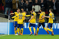 Paulo Dybala of Juventus (left) celebrates scoring his side's second goal with team mates <br /> <br /> Photographer Craig Mercer/CameraSport<br /> <br /> UEFA Champions League Round of 16 Second Leg - Tottenham Hotspur v Juventus - Wednesday 7th March 2018 - Wembley Stadium - London <br />  <br /> World Copyright &copy; 2017 CameraSport. All rights reserved. 43 Linden Ave. Countesthorpe. Leicester. England. LE8 5PG - Tel: +44 (0) 116 277 4147 - admin@camerasport.com - www.camerasport.com