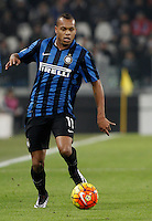 Calcio, semifinali di andata di Coppa Italia: Juventus vs Inter. Torino, Juventus Stadium, 27 gennaio 2016.<br /> Inter's Jonathan Biabiany in action during the Italian Cup semifinal first leg football match between Juventus and FC Inter at Juventus stadium, 27 January 2016.<br /> UPDATE IMAGES PRESS/Isabella Bonotto