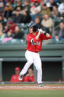 Shortstop Grant Williams (4) of the Greenville Drive bats in a game against the Rome Braves on Saturday, April 20, 2019, at Fluor Field at the West End in Greenville, South Carolina. Rome won, 5-4. (Tom Priddy/Four Seam Images)