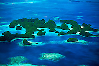 Aerial photograph of the Rock Islands, Republic of Palau, Micronesia.