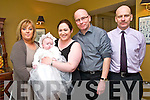 Baby Nicole Ellie Keane with her parents Leanne & Johnny Keane , Listowel and godparents Claire Clancy & Edward Keane who was christened at St. Mary's Church, Listowel byy Canon Declan O'Connor on Sunday last and afterwards at the Listowel Arms Hotel.