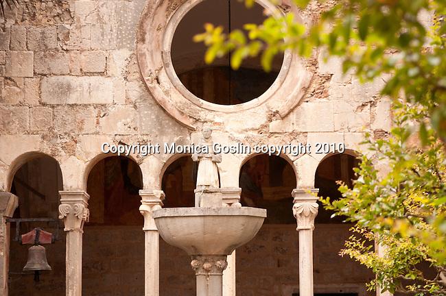 Franciscan Monastery and Museum courtyard in Dubrvonik, Croatia.