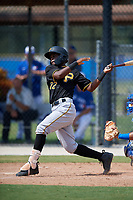 Pittsburgh Pirates second baseman Norkis Marcos (72) follows through on a swing during a Florida Instructional League game against the Toronto Blue Jays on September 20, 2018 at the Englebert Complex in Dunedin, Florida.  (Mike Janes/Four Seam Images)