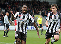 ST MIRREN'S NIGEL HASSELBAINK CELEBRATES AFTER HE SCORES ST MIRREN'S FIRST