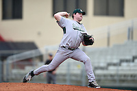 Slippery Rock pitcher Geoff Sanner (35) during a game against the University of the Sciences Devils on March 6, 2015 at Jack Russell Field in Clearwater, Florida.  Slippery Rock defeated University of the Sciences 6-3.  (Mike Janes/Four Seam Images)
