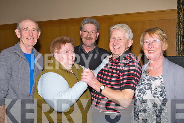 STEPPING IT OUT: Stepping it out at the Shindig,Tradional & Set Dancing Festival on the weekend in Ballyroe Heights Hotel, Tralee Friday night, L-r: Phiil McNeill and Kathleen Enright (Lyracompane), Paddy Hannafin(organiser Tralee), Bertie Enright and Kathleen McNeill (Lyracrompane)........... . ............................... ..........