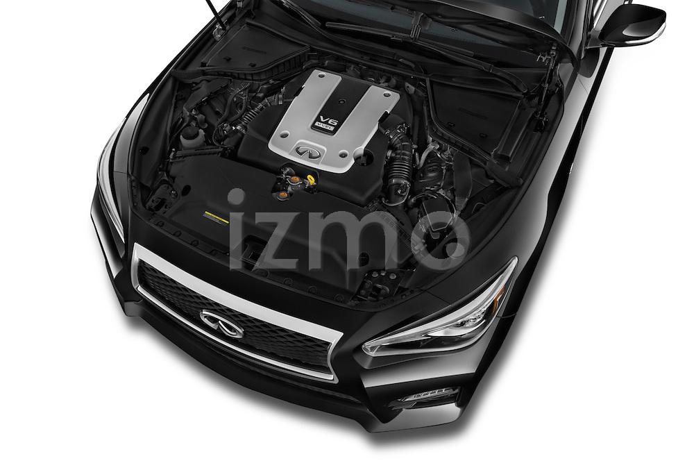 Car stock 2015 Infiniti Q50 Sport 4 Door Sedan engine high angle detail view