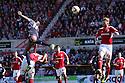 Lucas Akins of Stevenage heads goalwards. Swindon Town v Stevenage - npower League 1 -  County Ground, Swindon - 20th April, 2013. © Kevin Coleman 2013..
