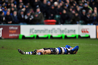 Rhys Priestland of Bath Rugby. Aviva Premiership match, between Bath Rugby and Wasps on February 20, 2016 at the Recreation Ground in Bath, England. Photo by: Patrick Khachfe / Onside Images