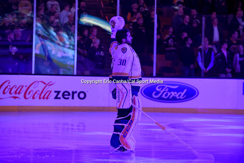 Monday, December 7, 2015: Nashville Predators goalie Carter Hutton (30) at the start of the National Hockey League game between the Nashville Predators and the Boston Bruins held at TD Garden, in Boston, Massachusetts. The Predators defeat the Bruins 3-2 in regulation time. Eric Canha/CSM