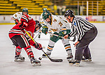 25 November 2016: University of Vermont Catamount Forward Ève-Audrey Picard, a Freshman from Longueuil, Quebec, takes a face-off against the Saint Cloud State Huskies at Gutterson Fieldhouse in Burlington, Vermont. The Lady Cats defeated the Huskies 5-1 to take the first game of the 2016 Windjammer Classic Tournament. Mandatory Credit: Ed Wolfstein Photo *** RAW (NEF) Image File Available ***