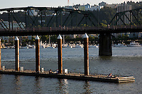 View looking south towards the Hawthorne Bridge on the Willamette River in Portland Oregon