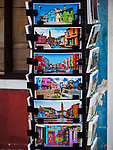 Post cards. The colorful village of Burano, Italy.