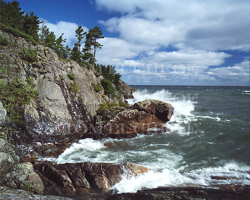 Lake Superior shoreline in the Upper Peninsula of Michigan. Middle Island Pt near Marquette.